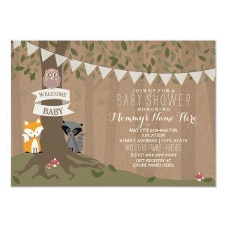 Cardstock Inspired Woodland Baby Shower - Neutral 13 Cm X 18 Cm Invitation Card