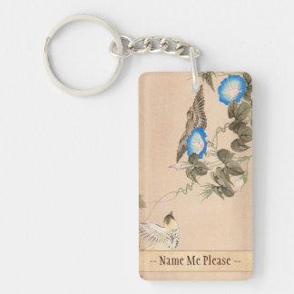 Cardueline Finch and Morning Glory Keibun Matsumo Double-Sided Rectangular Acrylic Key Ring