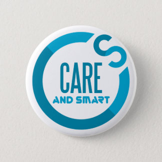 care and smart 6 cm round badge