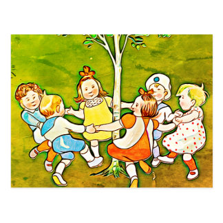 Carefree Children dancing around the tree postcard