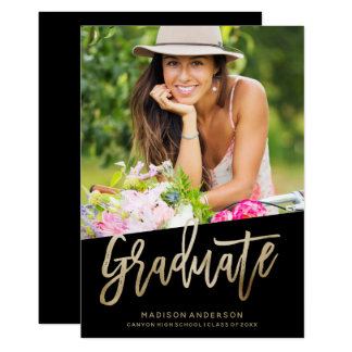 Carefree Faux Foil Graduation Invitation