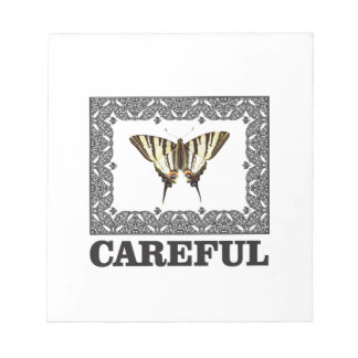 careful yellow butterfly notepad