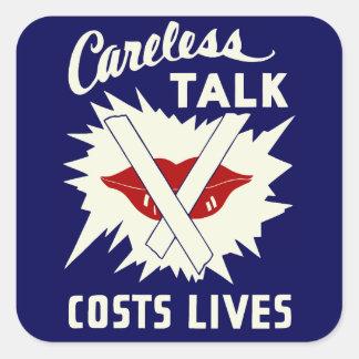 Careless talk costs lives retro style square sticker
