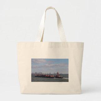 Cargo Ship Near Manhattan Bag
