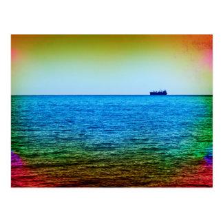 Cargo ship on the horizon postcard