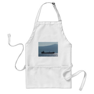 Cargo Ship Silhouetted By The Sun Standard Apron