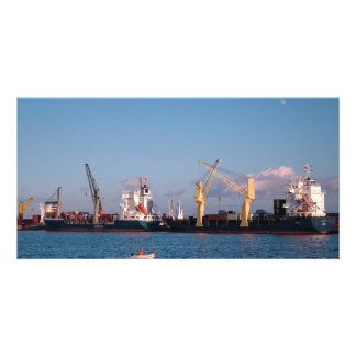 Cargo ships photo card template
