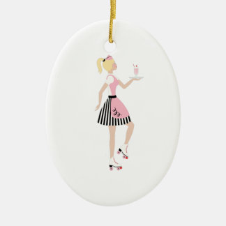 Carhop Girl Ceramic Ornament