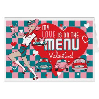 Carhop Retro Drive-In Valentine Card -Customizable