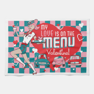 Carhop Retro Drive-In Valentine Kitchen Towel