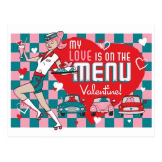 Carhop Retro Drive-In Valentine Postcard