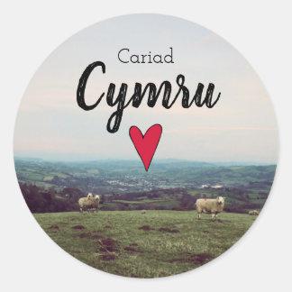 Cariad Cymru Love Wales Landscape Welsh Farm Sheep Classic Round Sticker
