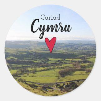 Cariad Cymru Love Wales Landscape Welsh Hills Classic Round Sticker
