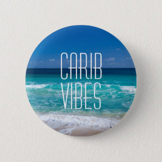 Carib Vibes Tropical Beach Turquoise Water 6 Cm Round Badge