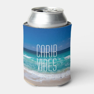 Carib Vibes Tropical Beach Turquoise Water Can Cooler