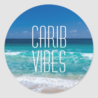 Carib Vibes Tropical Beach Turquoise Water Classic Round Sticker