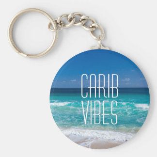 Carib Vibes Tropical Beach Turquoise Water Key Ring
