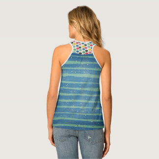 Caribbean Blue and Green Stripes with gold stars Tank Top