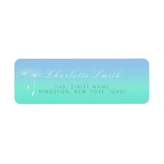 Caribbean Blue Ocean Ombre Dandelion Address Return Address Label