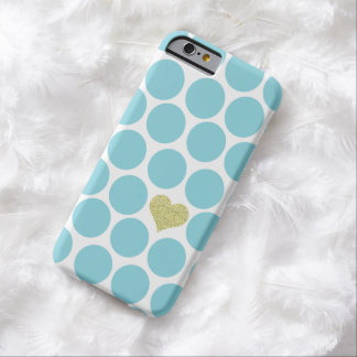 Caribbean Blue Polka Dot Glitter Heart iPhone Barely There iPhone 6 Case