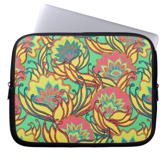 Caribbean Colours Boho Floral Pattern Laptop Sleeve