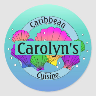 Caribbean Cuisine Sea Shells and Bubbles Classic Round Sticker