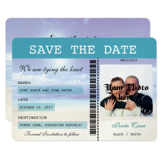Caribbean Dreamz  Boarding Pass Save the Date Card