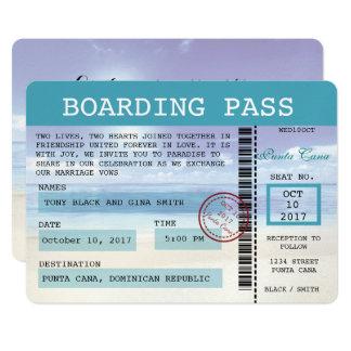 Caribbean Dreamz Wedding Boarding Pass Invitation