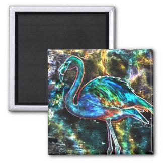 Caribbean Flamingo Digital Art Square Magnet
