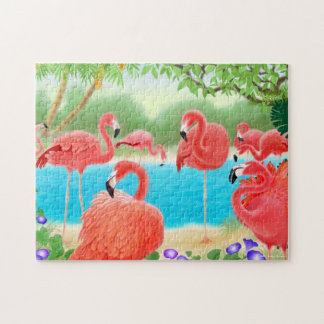 Caribbean Flamingo Lagoon Puzzle