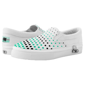 Caribbean Green and Black Polka Dot Printed Shoes