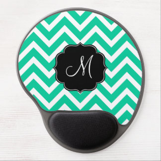 Caribbean Green Chevron Pattern with Monogram Gel Mouse Pad