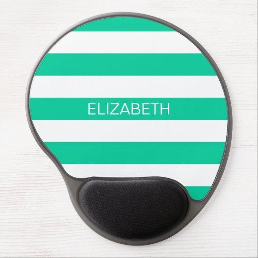 Caribbean Green Horiz Preppy Stripe Name Monogram Gel Mouse Pad