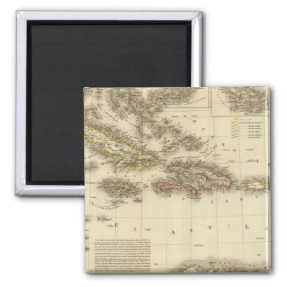 Caribbean Islands and West Indies Square Magnet