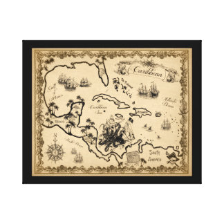 Caribbean Map with Kraken Canvas Print