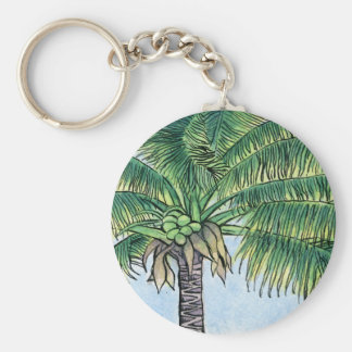Caribbean palm tree basic round button key ring