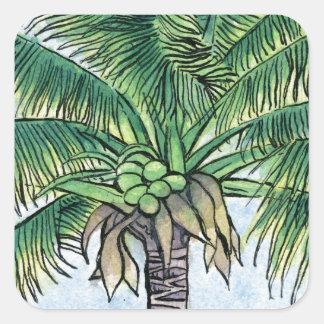 Caribbean palm tree square sticker