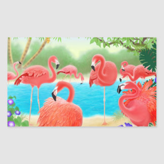 Caribbean Pink Flamingo Flock Sticker