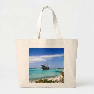 Caribbean Pirate Ship Large Tote Bag