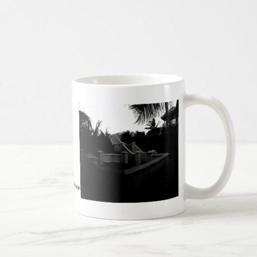 Caribbean Resort Black and White Coffee Mug