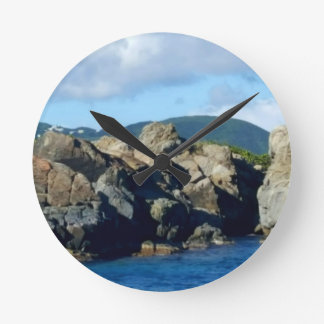 Caribbean Rocky Barrier St. Thomas Landscape Round Clock