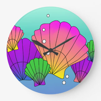 Caribbean Sea Shells with Bubbles Large Clock