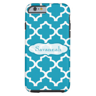 Caribbean Sky Blue Moroccan Personalized iPhone Tough iPhone 6 Case