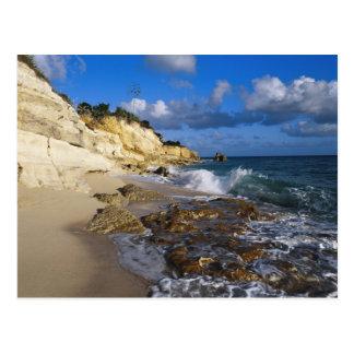 Caribbean, St. Martin, Cliffs at Cupecoy beach Postcard