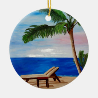 Caribbean Strand with Beach Chairs Ceramic Ornament