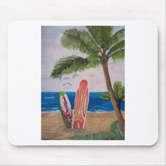 Caribbean Strand with Surf Boards Mouse Pads