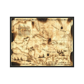 Caribbean Treasure Map Canvas Print