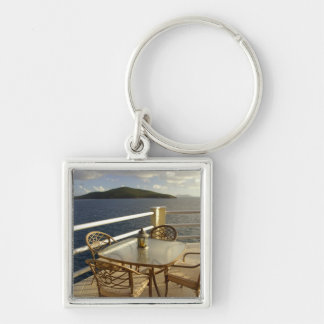 Caribbean, U.S. Virgin Islands, St. Thomas. View Silver-Colored Square Key Ring