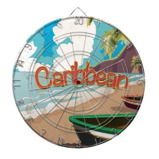 Caribbean Vintage Beach travel poster Dartboards