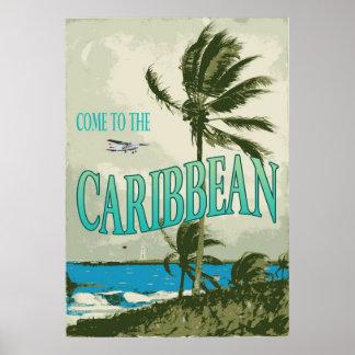 Caribbean Vintage Travel Poster